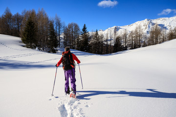 alpinista con le ciaspole sulla neve fresca  - Alpi Lepontine (Svizzera)
