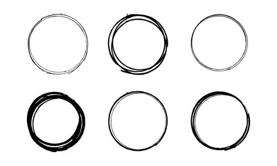 Set of hand drawn grunge scribble circles. Vector illustration.