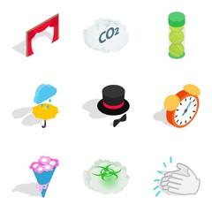 Way of life icons set, isometric style