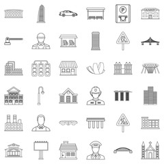 Large city icons set, outline style