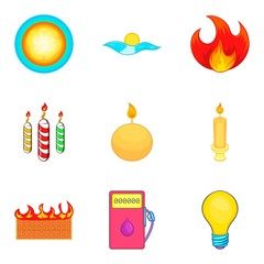 Searchlight icons set, cartoon style
