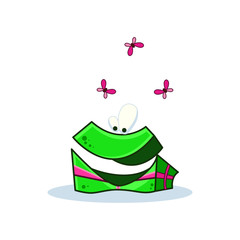 Cartoon funny gift box on white background. Vector image to create original web games or graphic design