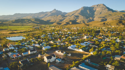 Aerial view over the small town of Ladysmith in the Western Cape of South Africa Wall mural