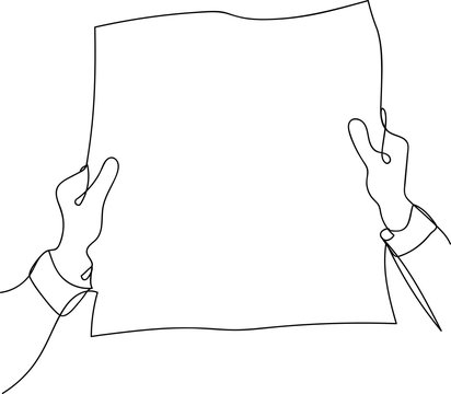 continuous line drawing of a man with a newspaper
