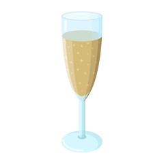 Champagne glass, yellow or beige champagne, with bubbles, grape wine, clear blue glass, white background, isolated object, shadows and glare, realistic