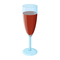 Glass of wine, ruby dark color, red grape wine, clear blue glass, white background, isolated object, shadows and glare, realistic, champagne glass
