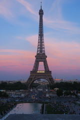 Eiffel Tower On The Sunset