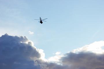 Helicopter in sky of Saint-Petersburg