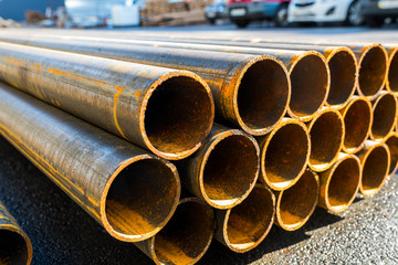 round metal rolled metal tubes, close-up of a cut,