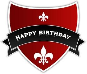 HAPPY BIRTHDAY on black ribbon above red shield.