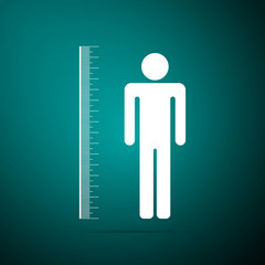 Measuring height body icon isolated on green background. Flat design. Vector Illustration