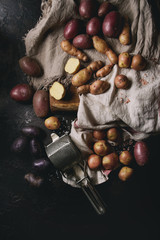 Variety of raw uncooked organic potatoes different kind and colors red, yellow, purple on wooden cutting board with kitchen towels over black table. Top view. Dark rustic style