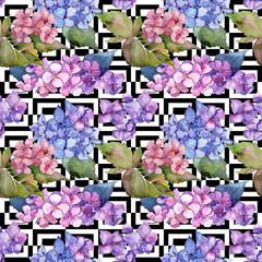 Wildflower hydrangea flower pattern in a watercolor style. Full name of the plant: hydrangea. Aquarelle wild flower for background, texture, wrapper pattern, frame or border.