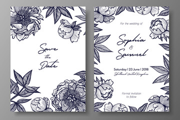 Wedding invitation with peonies. Cards templates for save the date, thank you card, wedding invites, menu, flyer, background, greeting cards, postcards.