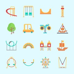 Icons about Amusement Park with skater, swing , swings, playground, pirate ship ride  and flambards experience