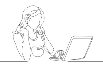 continuous line drawing girl sits at a laptop