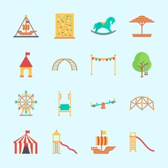 Icons about Amusement Park with game zone, climbing, pirate ship ride , sunshade, horse swing and ferris wheel