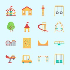 Icons about Amusement Park with climb , roller coaster, skater, flambards experience, amusement park and slide