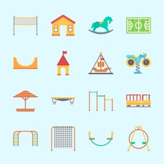 Icons about Amusement Park with amusement park, carousel, sunshade, horse swing, swing  and pirate ship ride