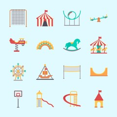Icons about Amusement Park with roller coaster, horse carousel, fun, game zone, basketball and skater