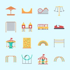 Icons about Amusement Park with child train, carousel, sunshade, climb , climbing and bumber car