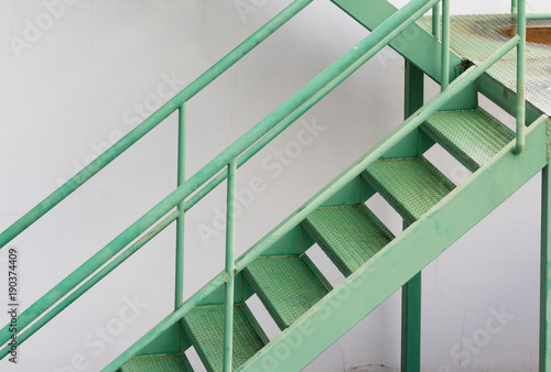 Green Fire Exit Stair, Outdoor Metal Stair Structure