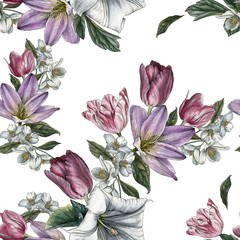Photo sur Aluminium Fleurs Vintage Floral seamless pattern with watercolor tulips and jasmine