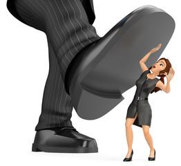 Fototapeta 3D Business woman under a giant foot of man. Gender inequality obraz