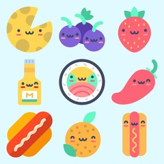 Icons set about Food with strawberry, sushi, mustard, orange, cheese and grapes