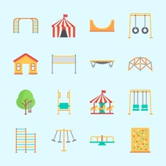 Icons about Amusement Park with game zone, carousel, carrousel, swing , skater and jumping flore
