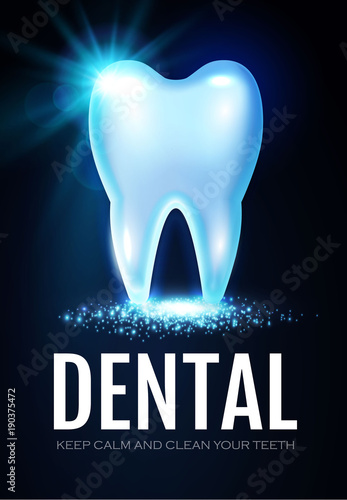 Shining Helthy Tooth With Lights Stomatology Design Template