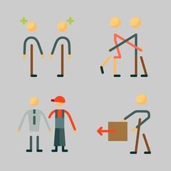 Icons set about Human with frienship, man, dialogue, stick man and hug