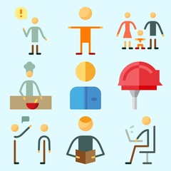 Icons set about Human with chief, male, selutation, worker, child and cooker