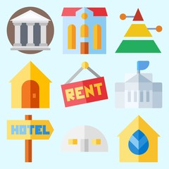 Icons set about Construction with real estate, store house, white house, hotel, for rent and pyramid