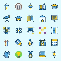 Icons set about School And Education with lecture, medal, museum, idea, presentation and telescope