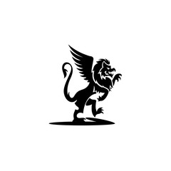 minimal logo of black griffin vector illustration.
