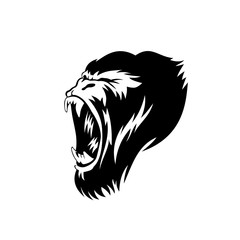 creative gorilla face logo illustration.