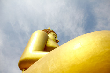 Big buddha in Wat Muang at Ang Thong Province popular Buddhist shrine in Thailand.