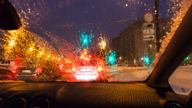 poor visibility while driving car in Moscow