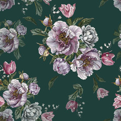Photo sur Aluminium Fleurs Vintage Floral seamless pattern with watercolor peonies and tulips