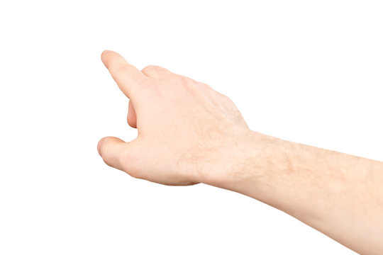 Closeup image of male hand making pointing gesture isolated at white background.