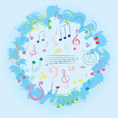 Colorful Hand Drawn Set of  Music Symbols.  Doodle Treble Clef, Bass Clef, Notes and Lyre Arranged in a Circle on Blue. Vector Illustration.