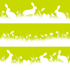 3 White Easter Banner Meadow Bunny Green