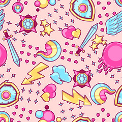 Wall Mural - Seamless pattern with cartoon fantasy objects. Fashion symbols in comic style