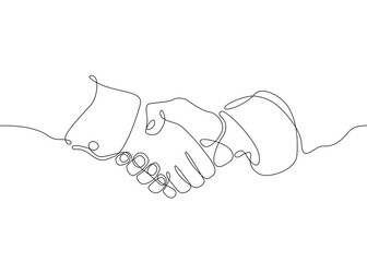 continuous line drawing Business concept deal deals handshake.