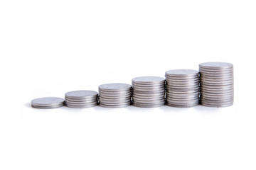 silver coin stack isolated on white background with clipping path