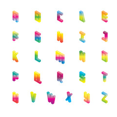 Isometric alphabet in gradient bright colors. Vector collection good for lettering and writing from english A to Z