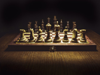 default position on the checkmate board isolated on the table