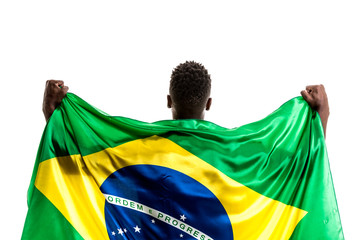 Brazilian afro male athlete / fan celebrating on white background