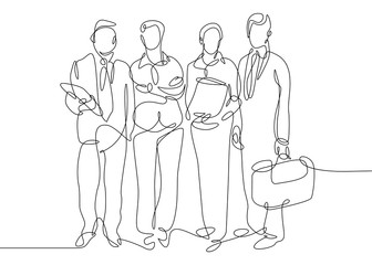 Continuous one drawn line of business team